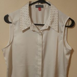 Vince Camuto Ivory Gold Gems Blouse Sleeveless S